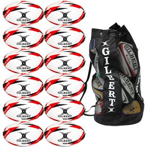 Gilbert G TR3000 Trainer Rugby Ball Red 12 Pack