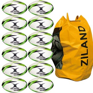 Gilbert G TR3000 Trainer Rugby Ball Green 12 Pack