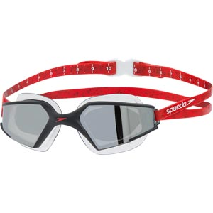 Speedo Aquapulse Max 2 Mirror Swimming Goggles Black/Lava Red/Chrome