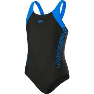 Speedo Girls Boom Splice Muscleback Swimsuit Black/Brilliant Blue