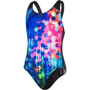 Speedo Girls Placement Digital Splashback Swimsuit Black/New Surf/Rose Violet