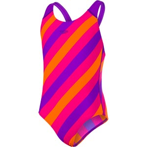 Speedo Girls Allover Splashback Swimsuit Royal Purple/Electric Pink/Pure Orange