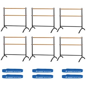 Beemat Freestanding Adjustable Double Ballet Barre 110cm 6 Pack