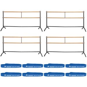 Beemat Freestanding Adjustable Double Ballet Barre 220cm 4 Pack