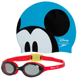 Speedo Swimming Mickey Mouse Cap and Goggles Set