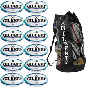 Gilbert Photon Match Rugby Ball White/Blue 12 Pack