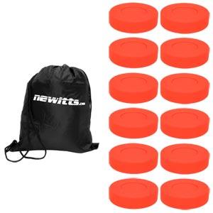 Unihoc Rubber Floorball Puck 12 Pack