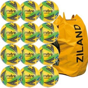 Mitre Ultimatch Futsal Football Yellow/Green/Blue 12 Pack