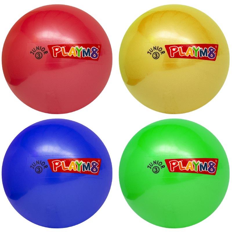 PLAYM8 Junior 3 Plastic Playball 4 Pack 15cm
