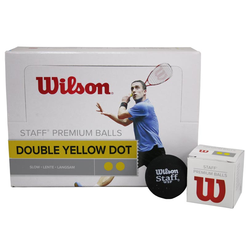Wilson Staff Squash Balls Double Yellow Dot Pack of 12