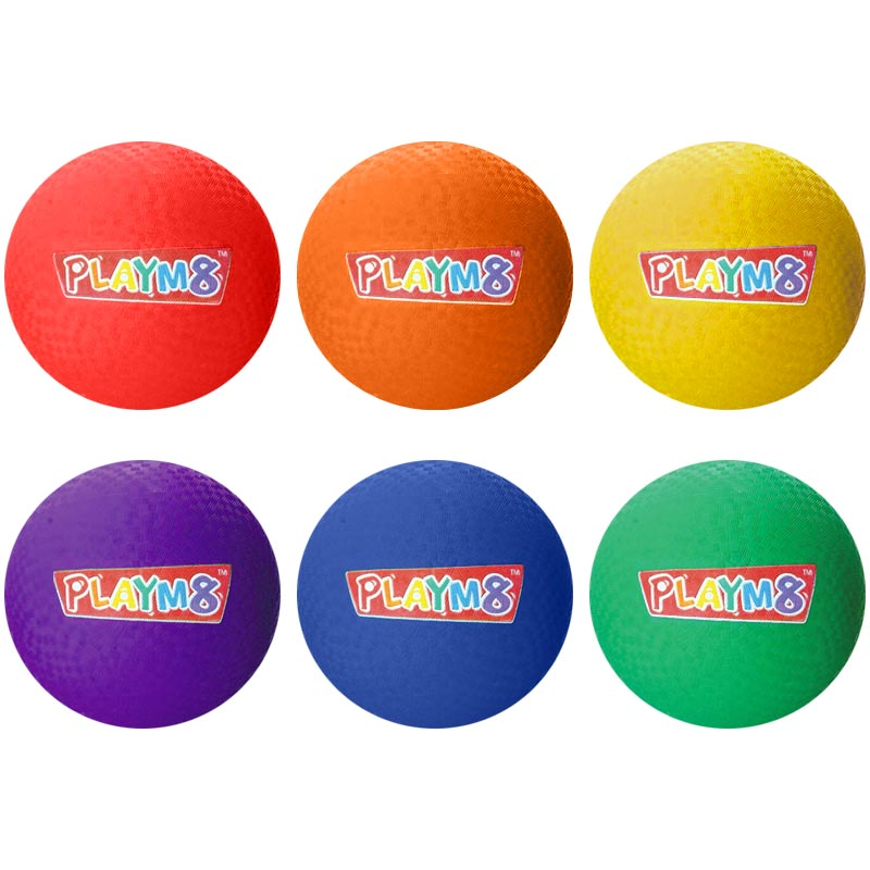 PLAYM8 Playground Ball 6 Pack 20cm
