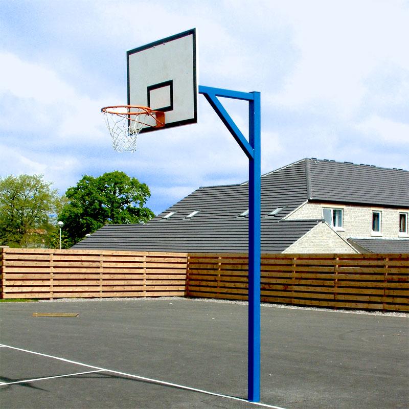 Harrod Sport Socketed Basketball Goals with Wooden Practice Backboard Set