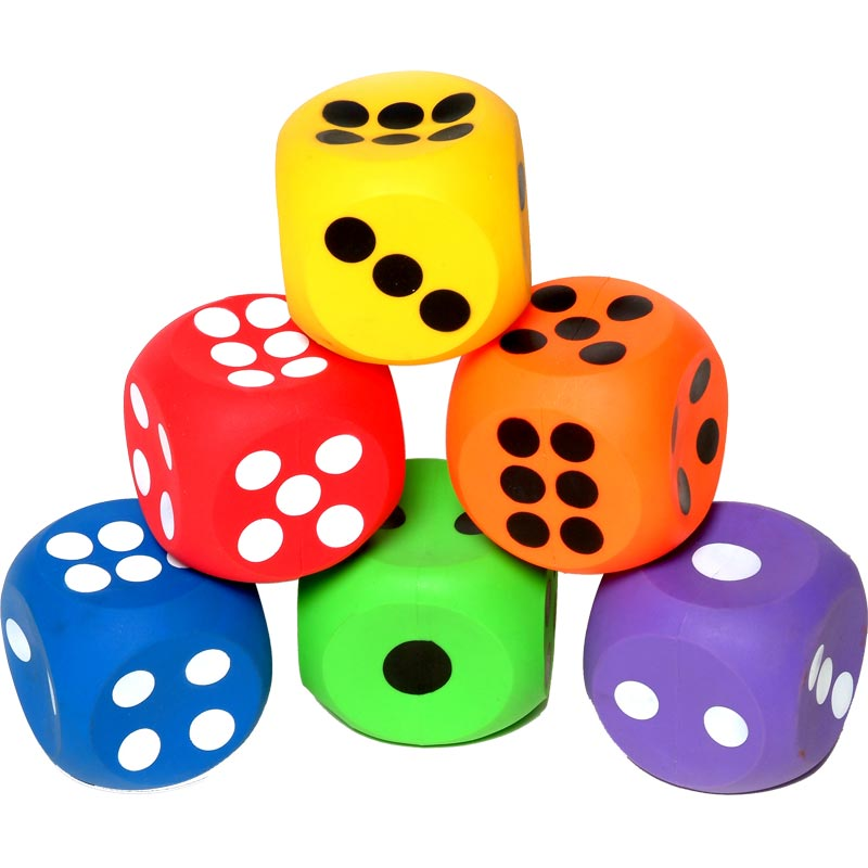 PLAYM8 Inflatable Dice 6 Pack 10cm
