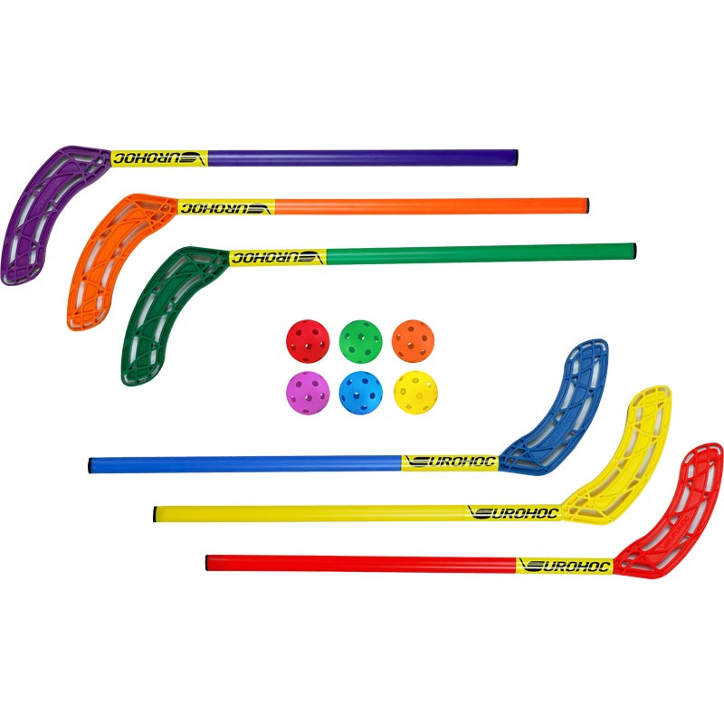 Eurohoc Hockey Sticks and Balls 6 Pack 75cm