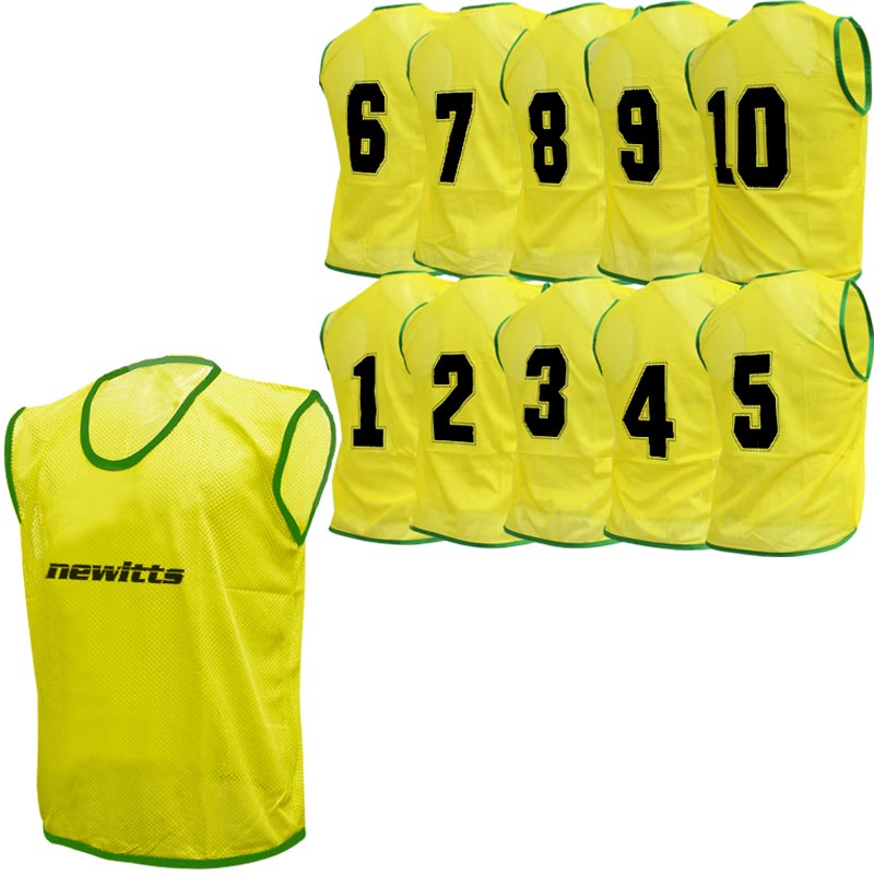 Numbered Training Bibs 1-10 Pack Yellow