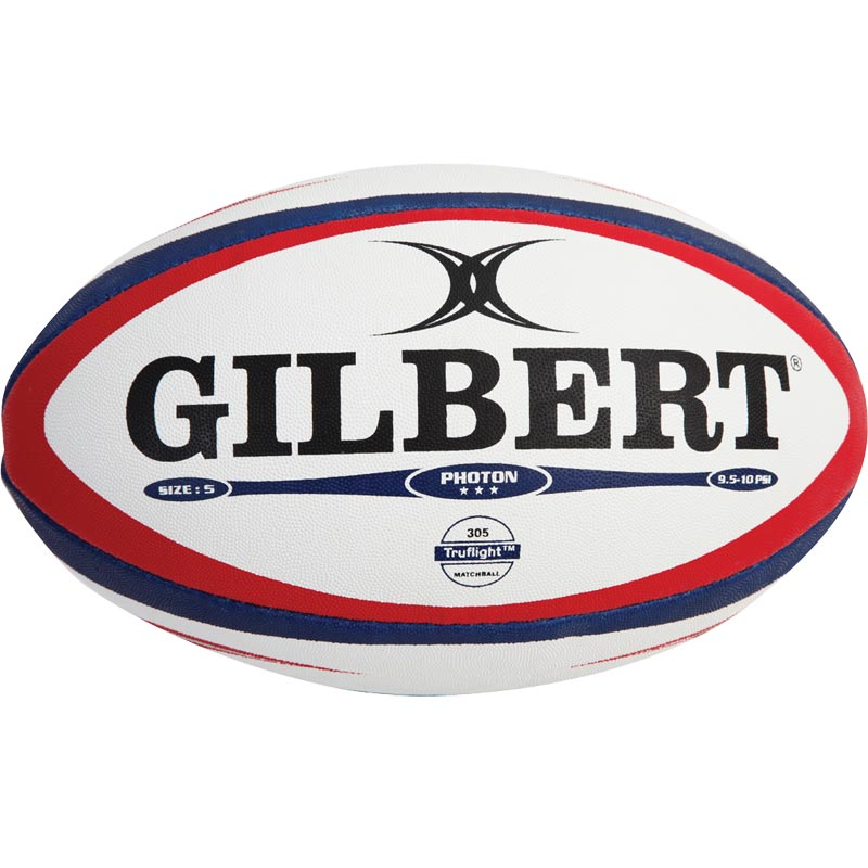 Gilbert Photon Match Rugby Ball White/Red