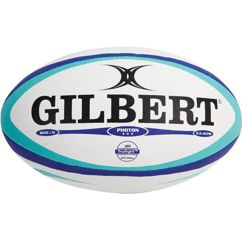 Gilbert Photon Match Rugby Ball White/Blue