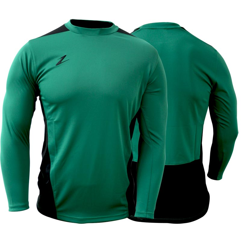 Ziland Team Long Sleeve Senior Football Shirt Green/Black