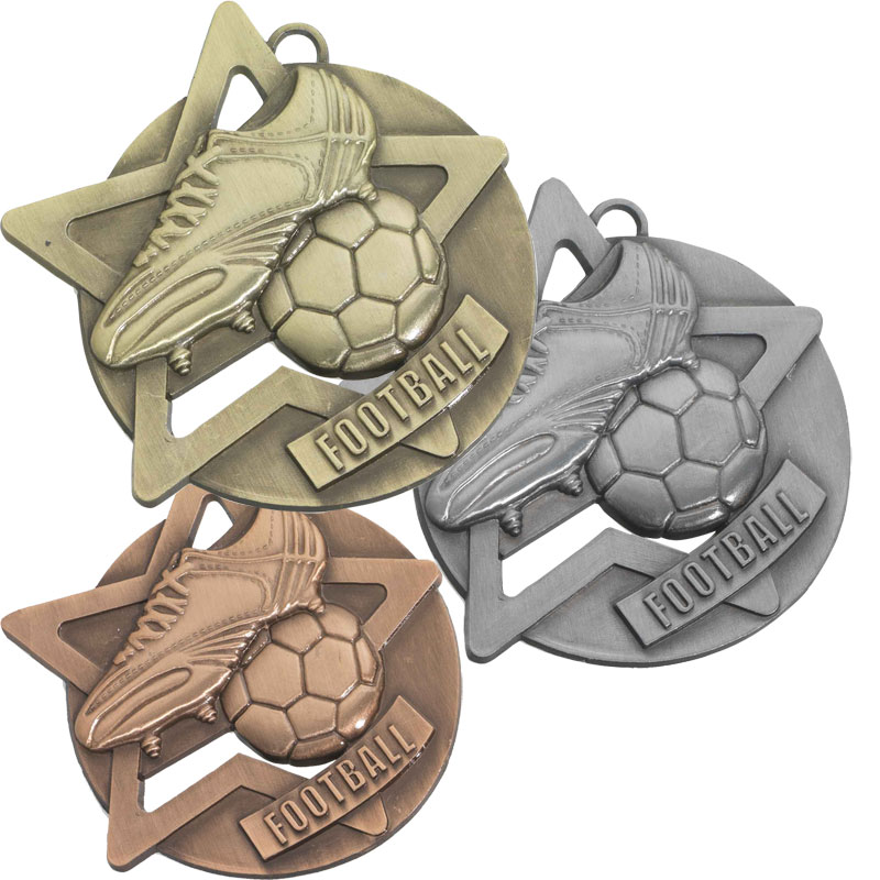 Football Sports Medals Gold Silver Bronze