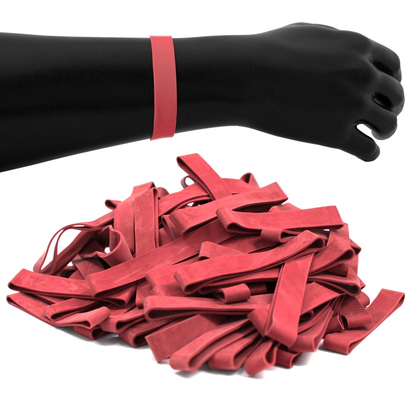 JPL Rubber Wristbands 100 Pack Red