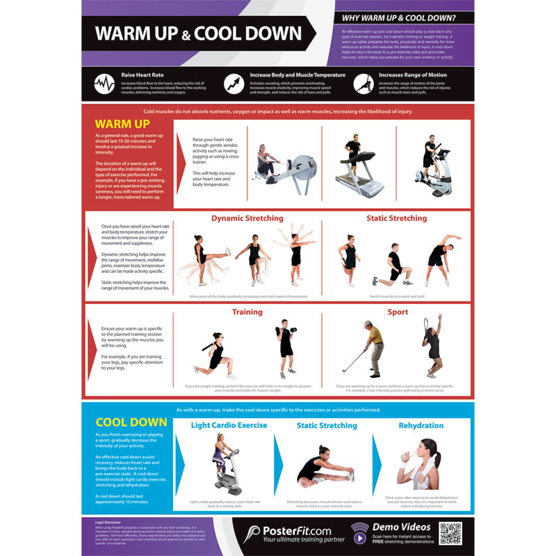 PosterFit Warm Up & Cool Down Exercise Poster