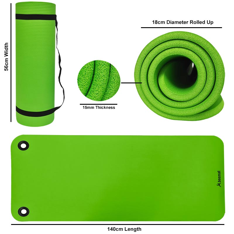 Beemat Premium Exercise Mat with Eyelets 1.4m