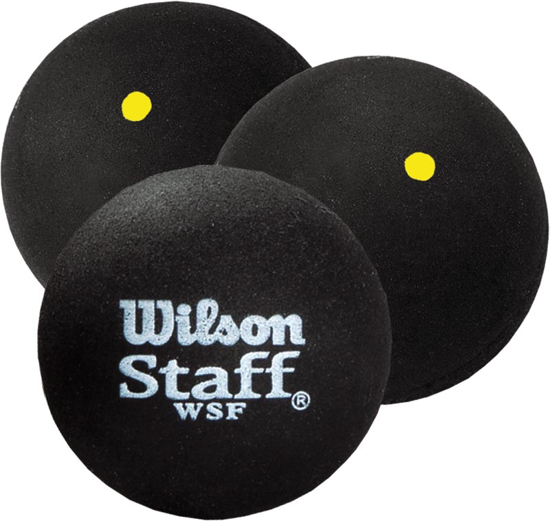Wilson Staff Squash Balls Yellow Dot Tube of 3
