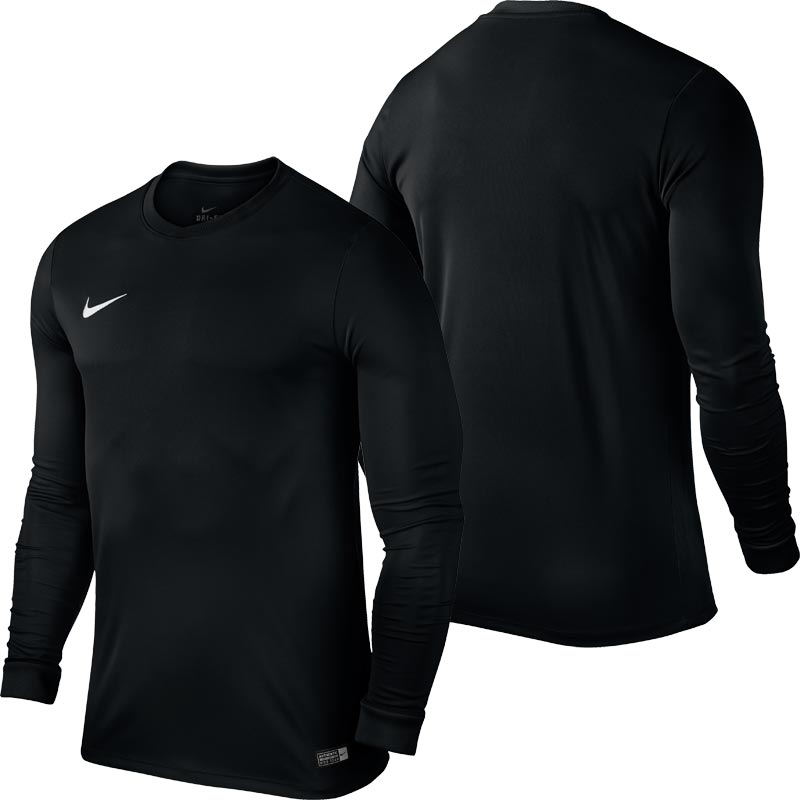 f1baaaae48b Nike Park VI Long Sleeve Junior Football Shirt Black. Tap to expand