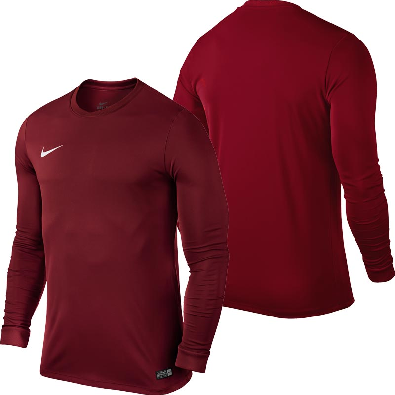 b2312b4d999b Nike Park VI Long Sleeve Senior Football Shirt Team Red. Tap to expand