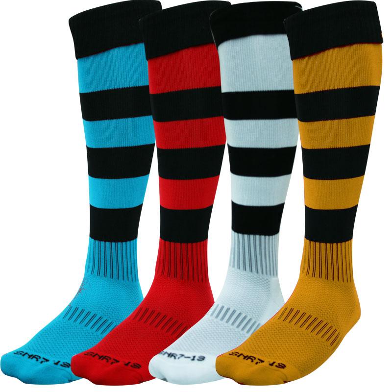 Green Rugby Socks: Gilbert Kryten II Hooped Rugby Socks