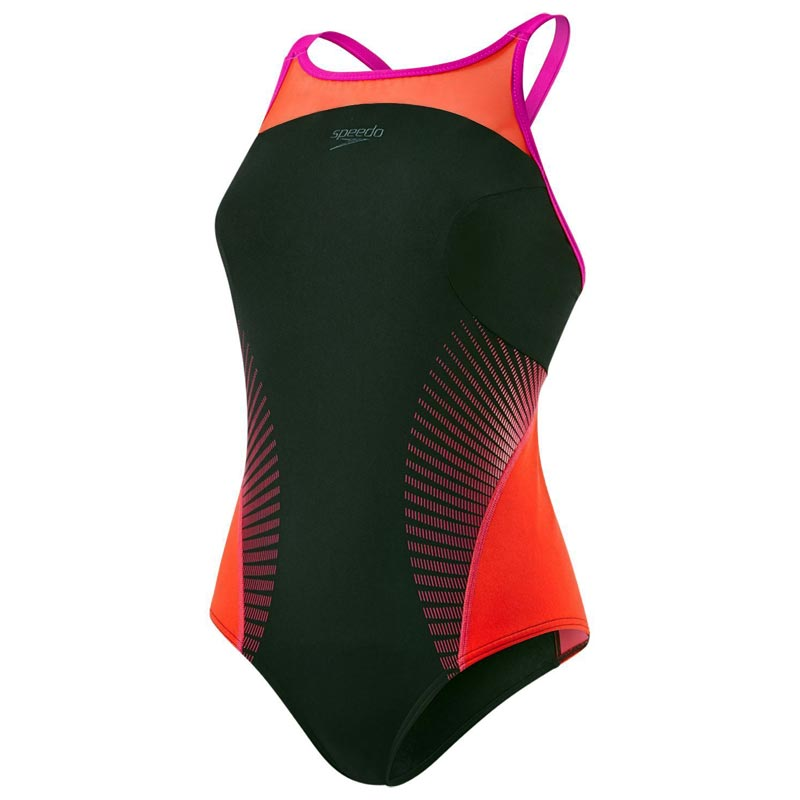 Speedo Fit Splice X Back Swimsuit Black/Lava Red/Electric Pink
