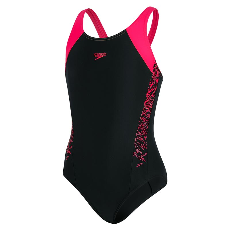 Speedo Girls Boom Splice Muscleback Swimsuit Black/Pink
