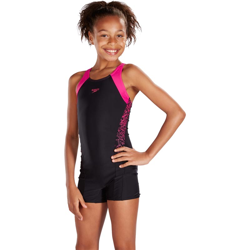 Speedo Girls Boom Splice Legsuit Black/Electric Pink