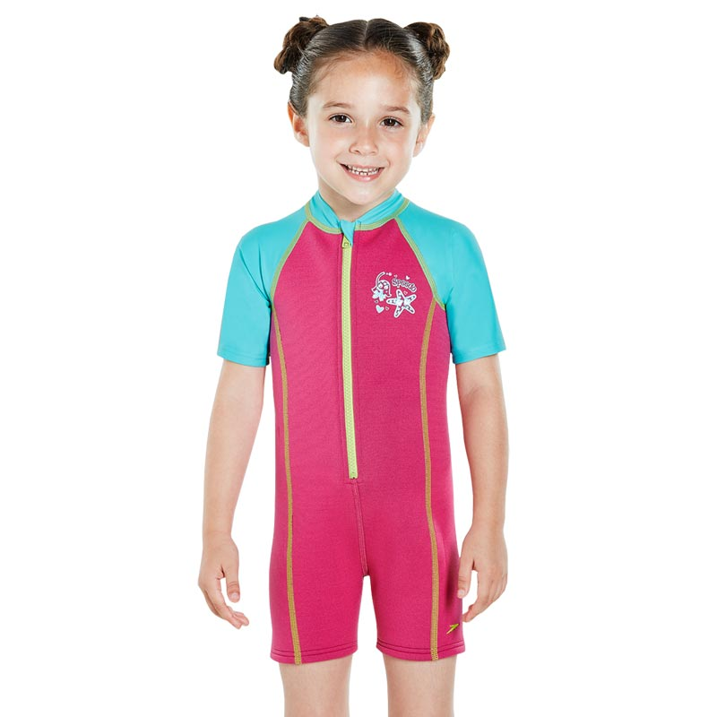 Speedo Girls Sea Squad Hot Tot Suit Pink/Blue