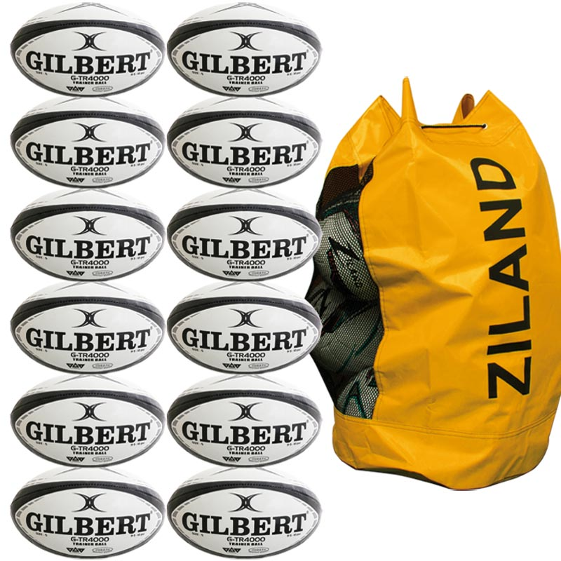 Gilbert G TR4000 Trainer Rugby Ball 12 Pack Black