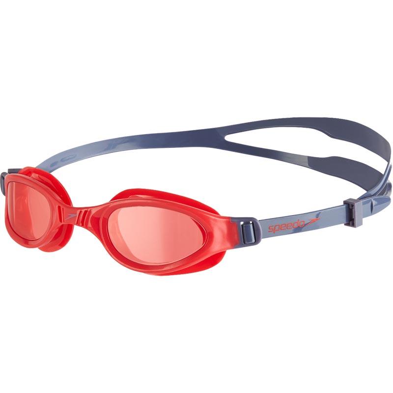 Speedo Junior Futura Plus Swimming Goggles Vita Grey/Lava Red