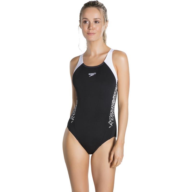 Speedo Boom Splice Muscleback Swimsuit  Black/White
