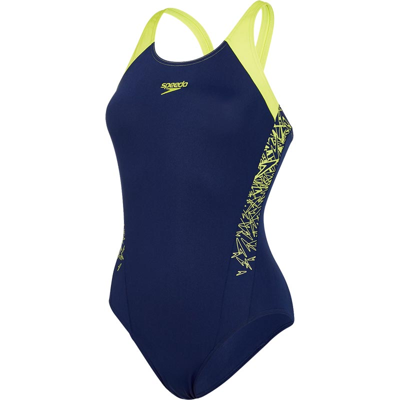 Speedo Boom Splice Muscleback Swimsuit Navy/Lime Punch