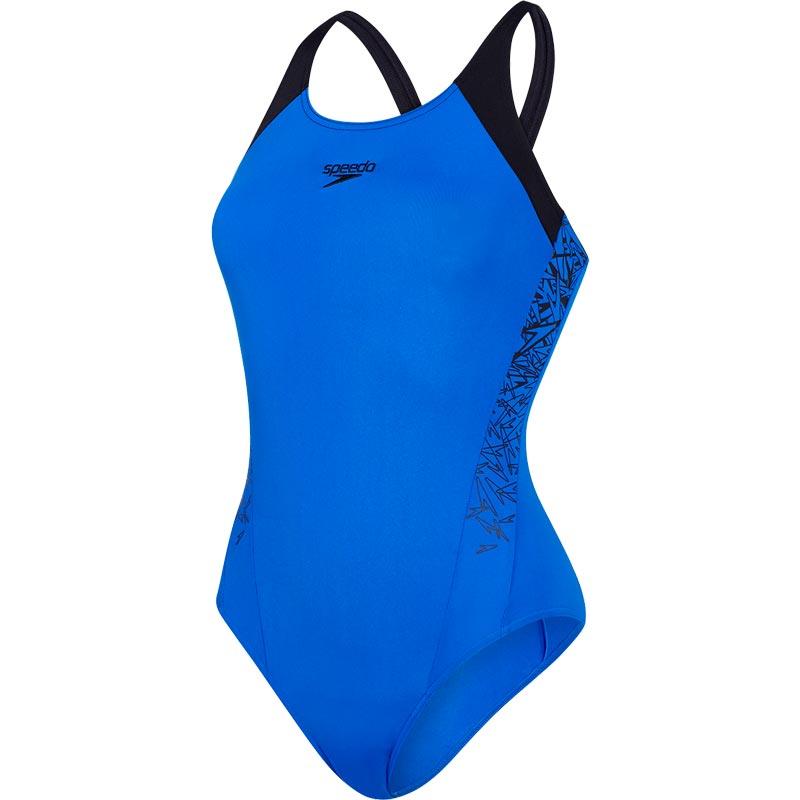 Speedo Boom Splice Muscleback Swimsuit Beautiful Blue/Black