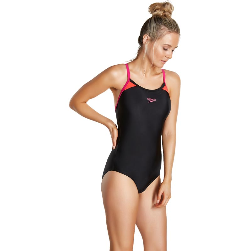 Speedo Splice Thinstrap Racerback Swimsuit Black/Pink/Red