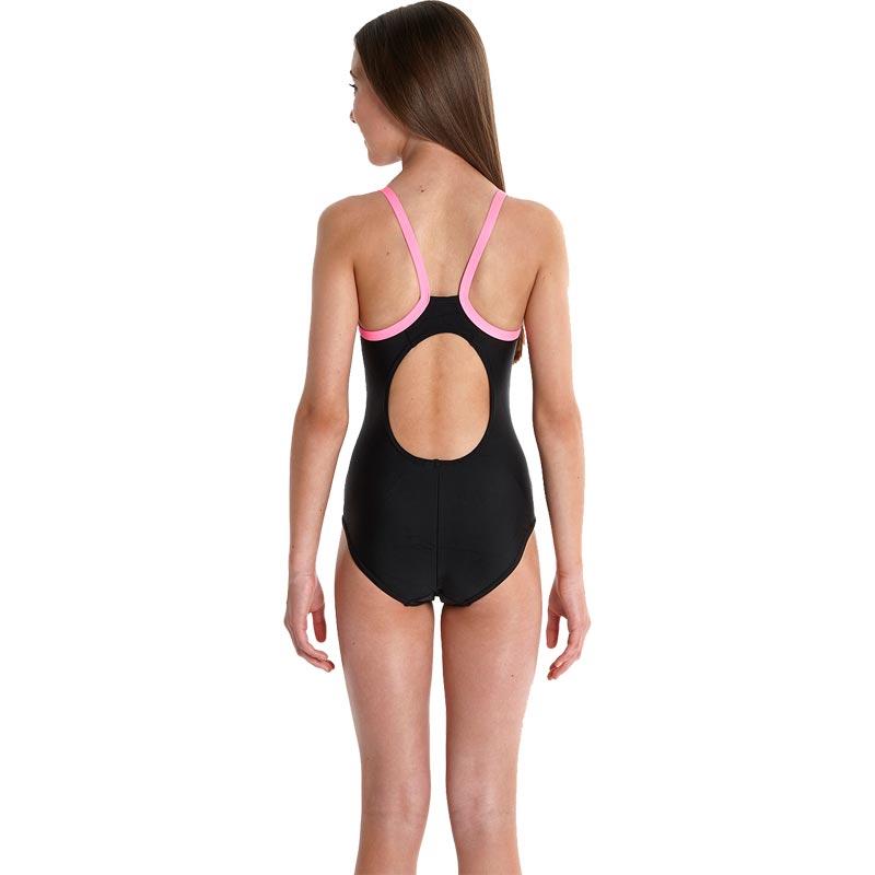 Speedo Girls Sports Logo Thinstrap Muscleback Swimsuit Black/Pink