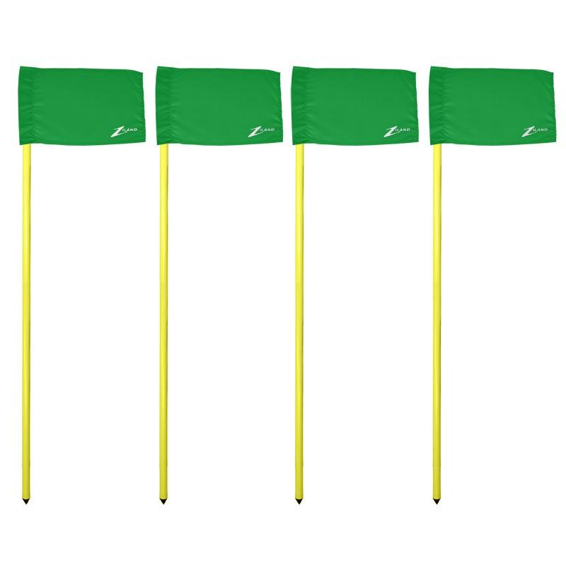 Ziland Club Corner Pole and Flag 4 Set Green
