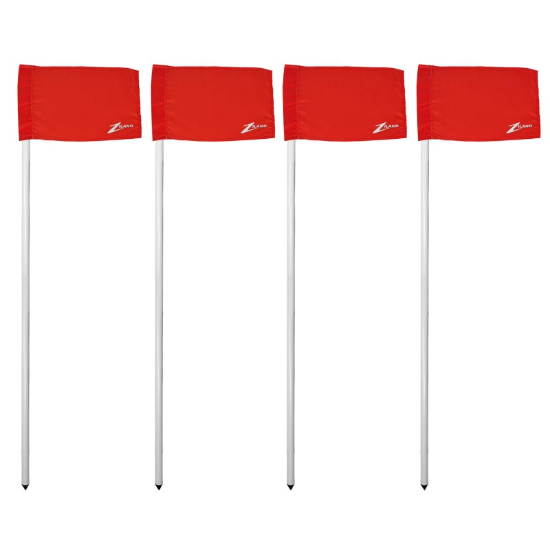 Ziland Club Corner Pole and Flag 4 Set Red