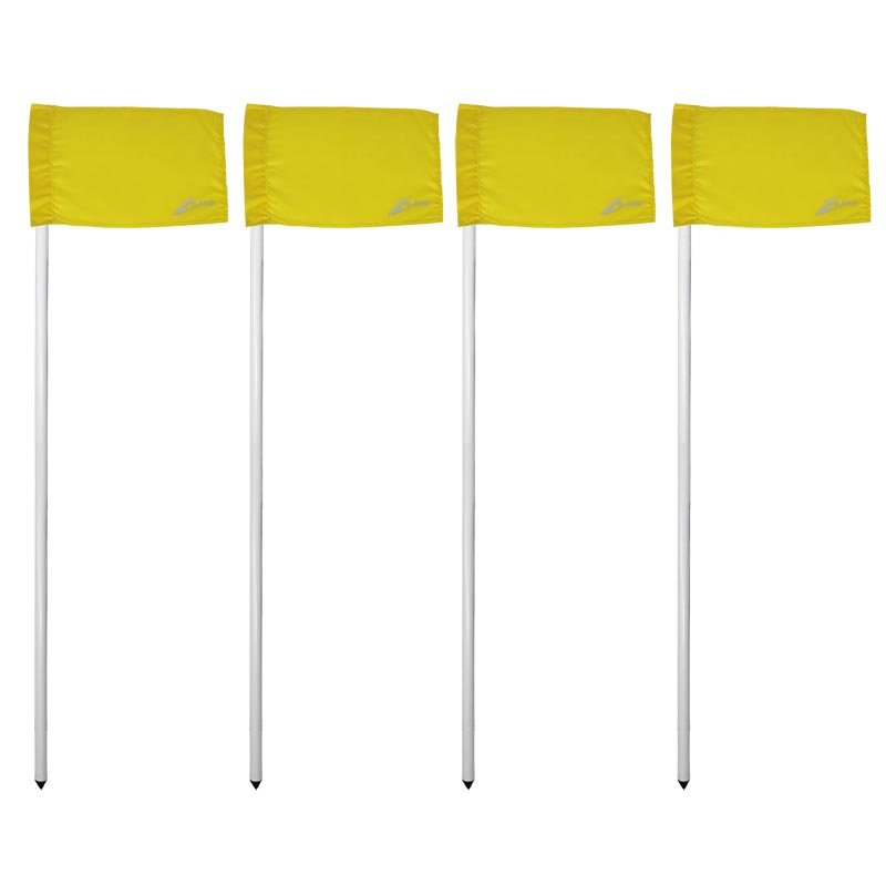 Ziland Club Corner Pole and Flag 4 Set Yellow