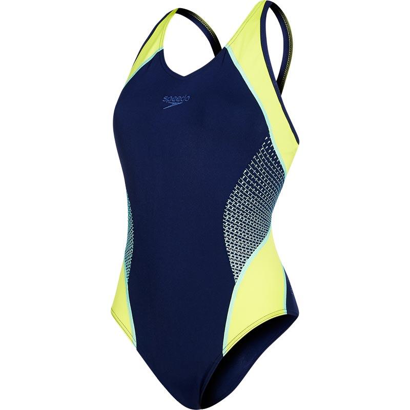 Speedo Fit Splice Muscleback Swimsuit Navy/Lime Punch/Spearmint