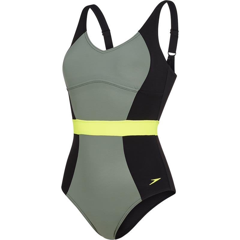 Speedo Crystalgleam One Piece Swimsuit Black/Moss/Lime Punch