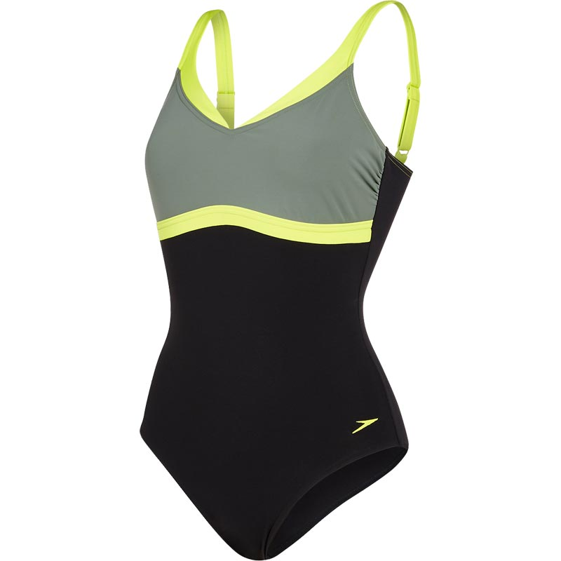 Speedo Aquajewel One Piece Swimsuit Black/Moss/Lime Punch