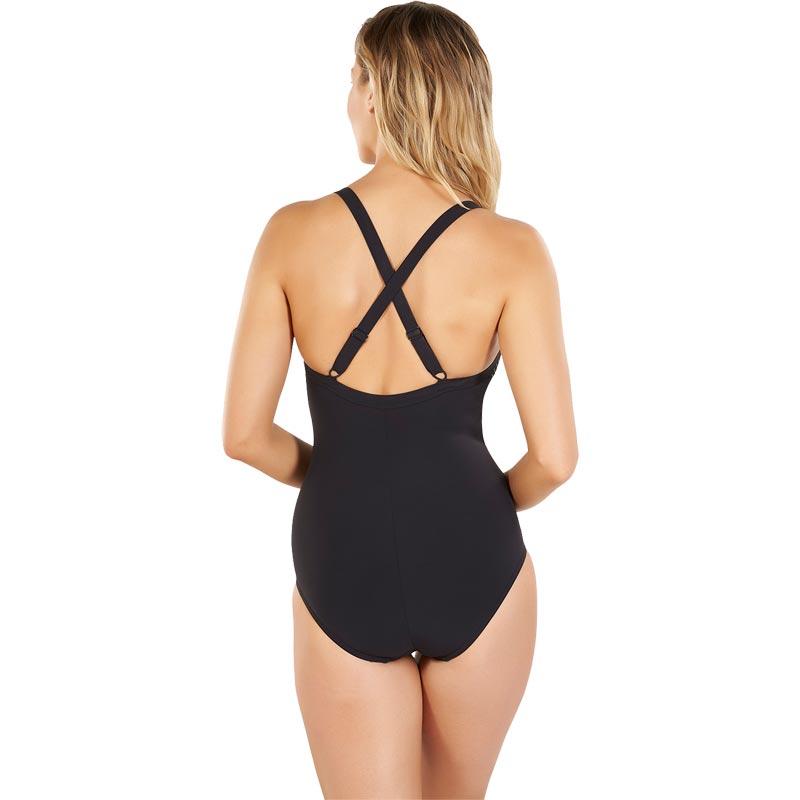 Speedo Shinedream Placement Swimsuit Black/Blue Bay