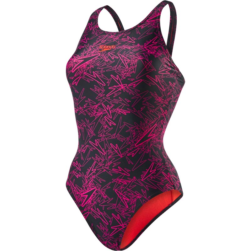 Speedo Boom Allover Muscleback Swimsuit Black/Electric Pink