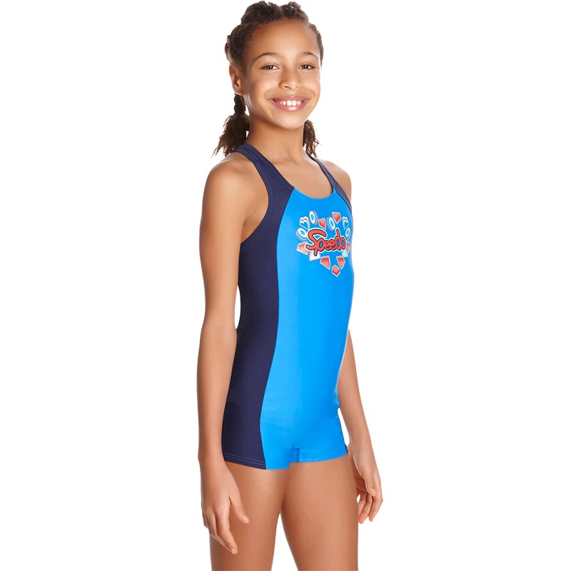 Speedo Girls Fizz Express Panel Legsuit Navy/Bondi Blue/Spearmint